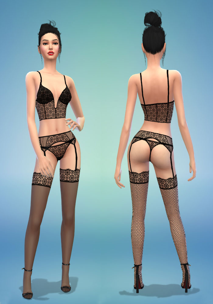 The sims 4 cc sexy lingerie set. Bralette, Thong Panties and Hold-up Stockings