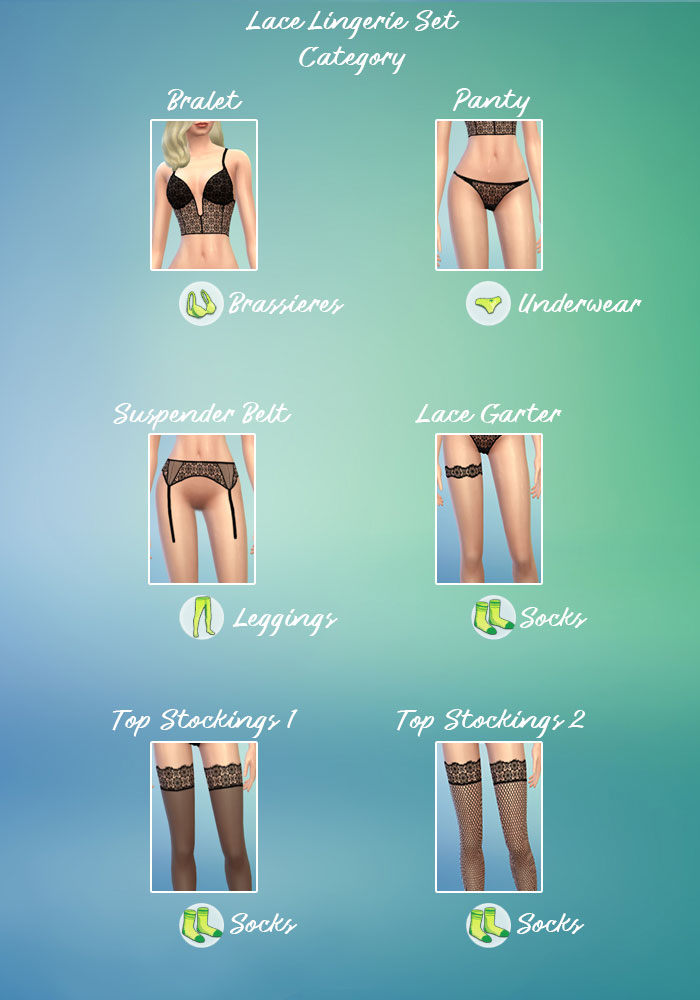 The sims 4 cc Bralette, Thong Panties and Hold-up Stockings