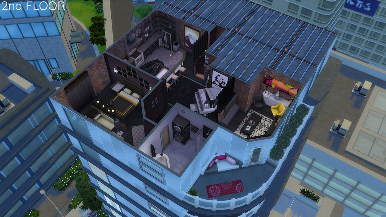 The sims 4 Apartment 701 2nd floor plan