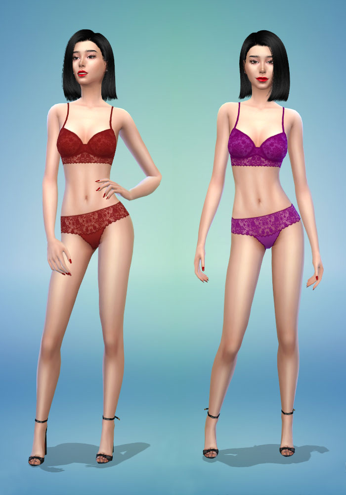 The sims 4 cc red and purple lingerie