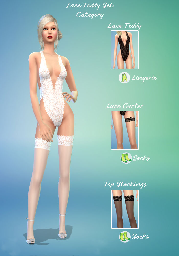 The sims 4 cc sexy teddy and Hold-up Stockings