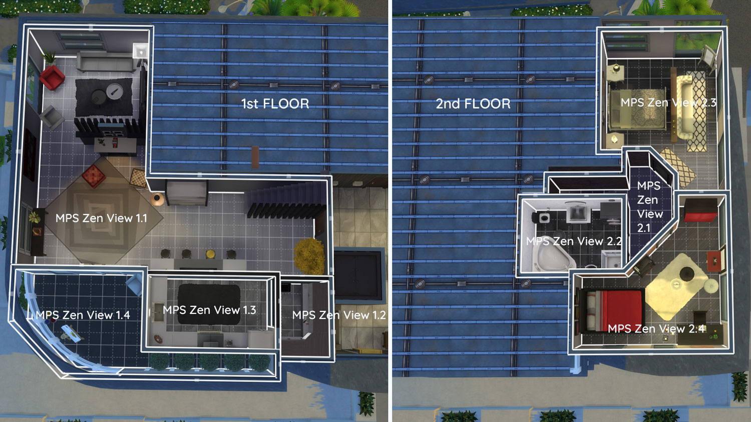 The sims 4 Apartment 702 ZenView rooms