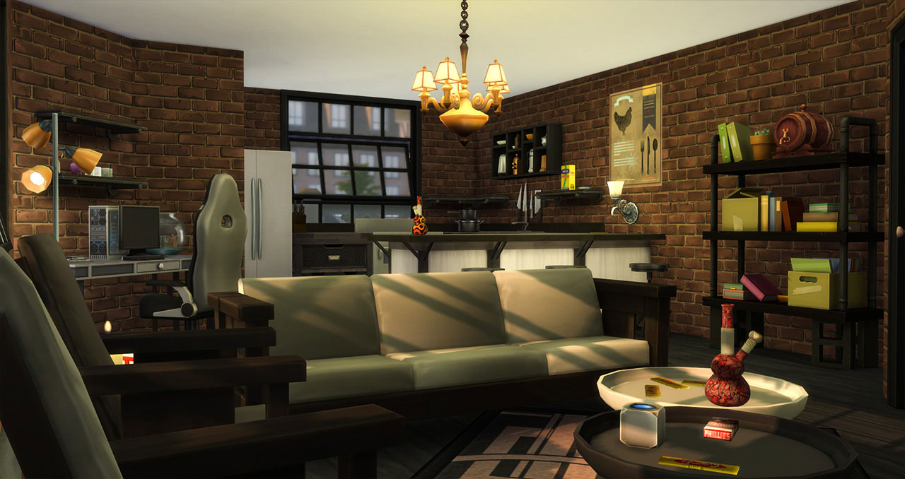 The sims 4 old brick house kitchen and living room