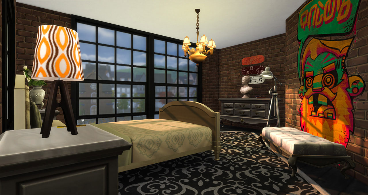 The sims 4 old brick house bedroom