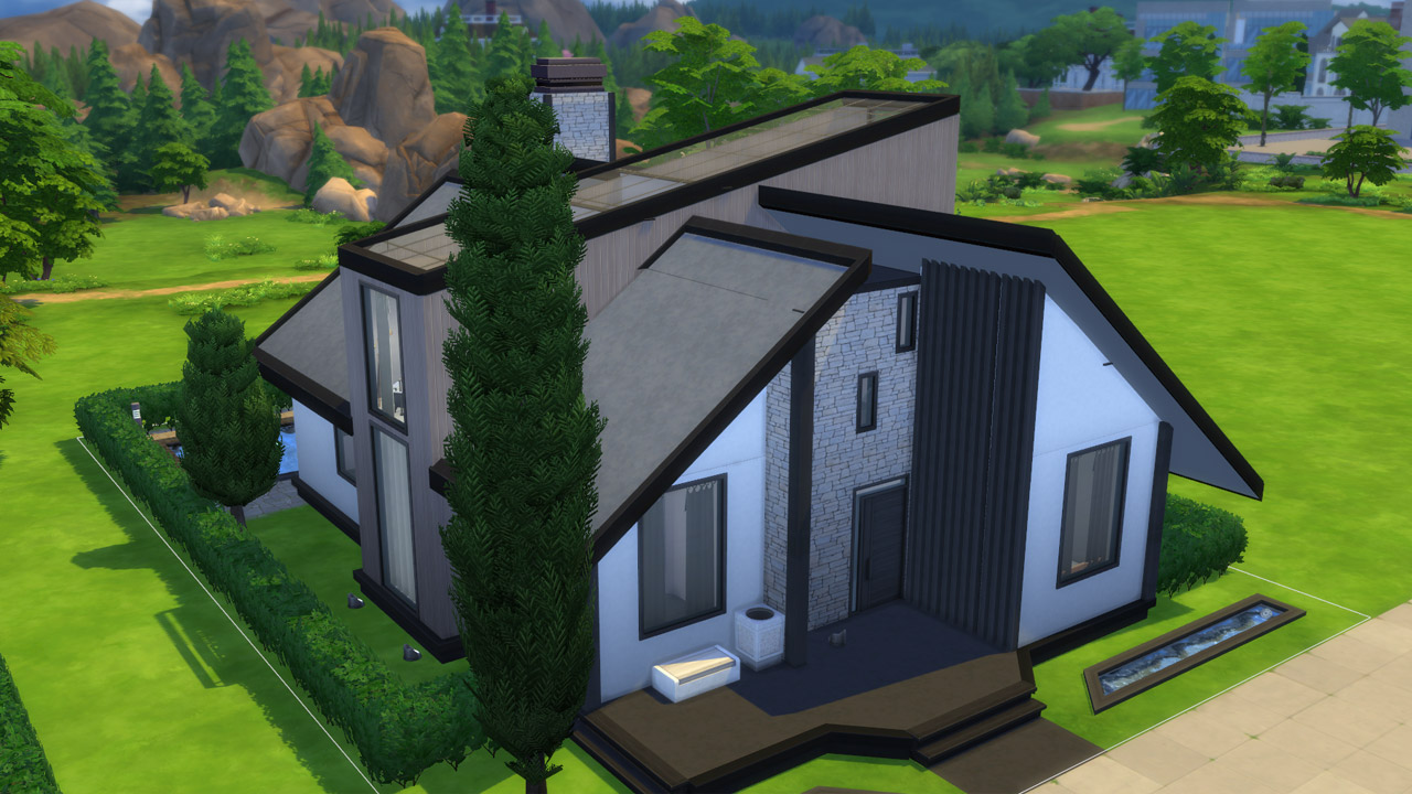 The Sims 4 modern house back yard
