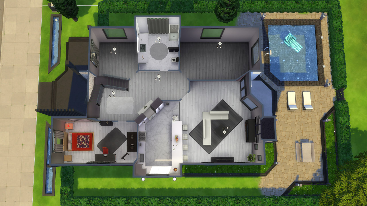 The Sims 4 modern house 2nd floor plan