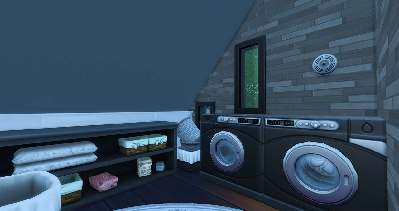 The Sims 4 furnished modern house laundry room