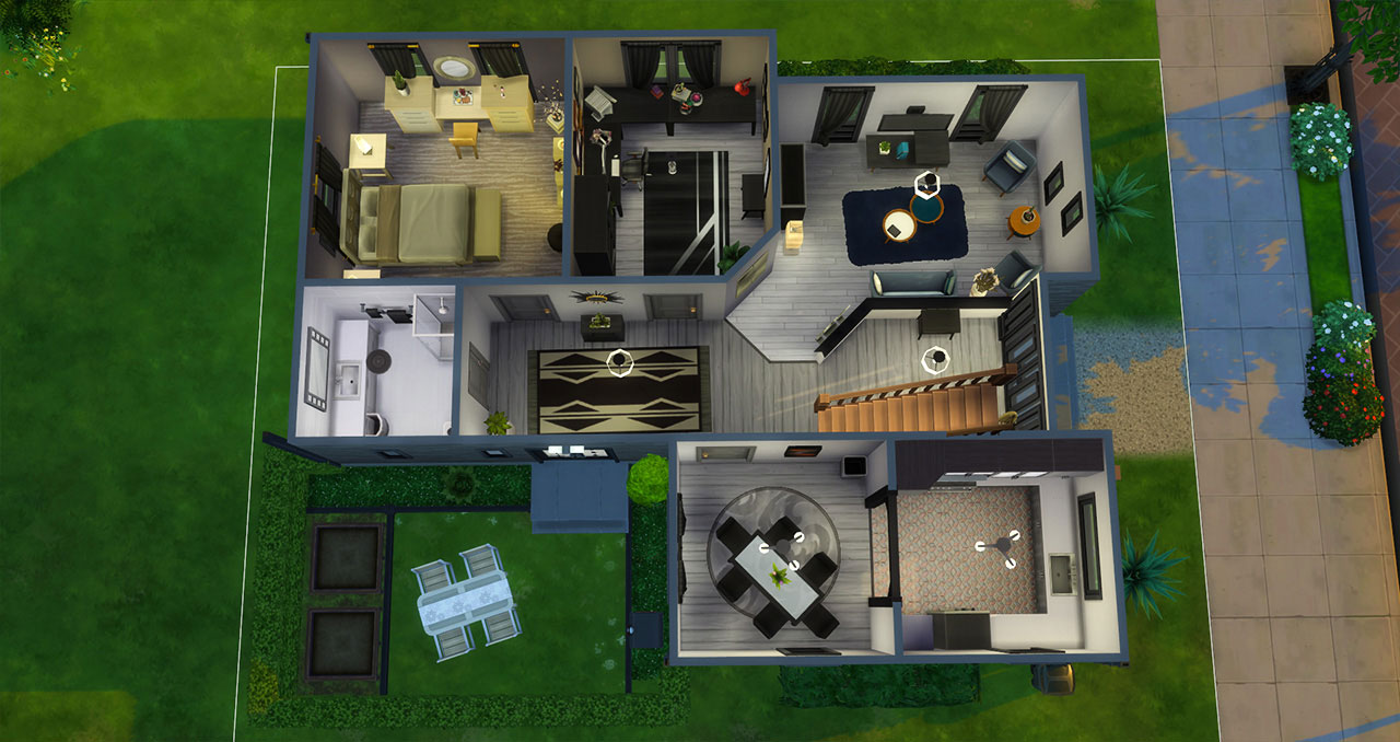 The Sims 4 furnished modern house 1st floor plan
