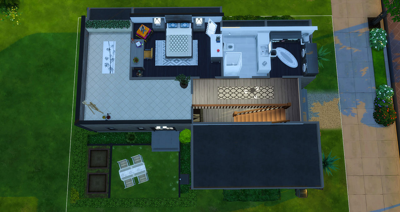 The Sims 4 furnished modern house 2nd floor plan