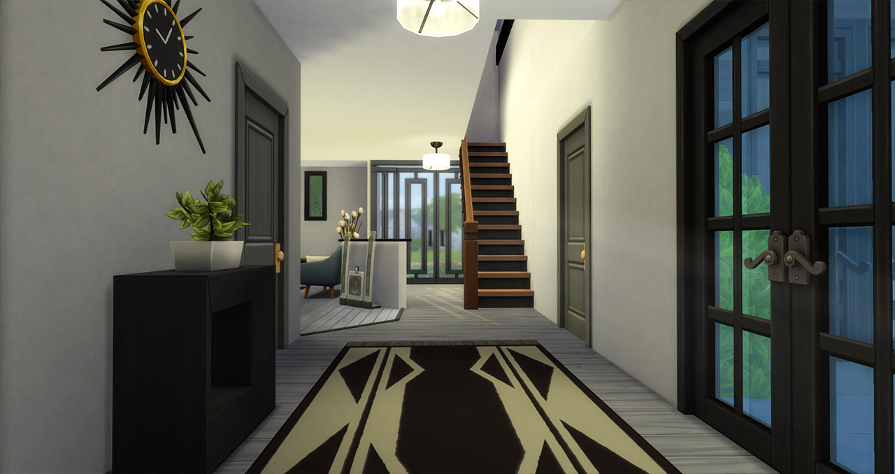 The Sims 4 furnished modern house hall