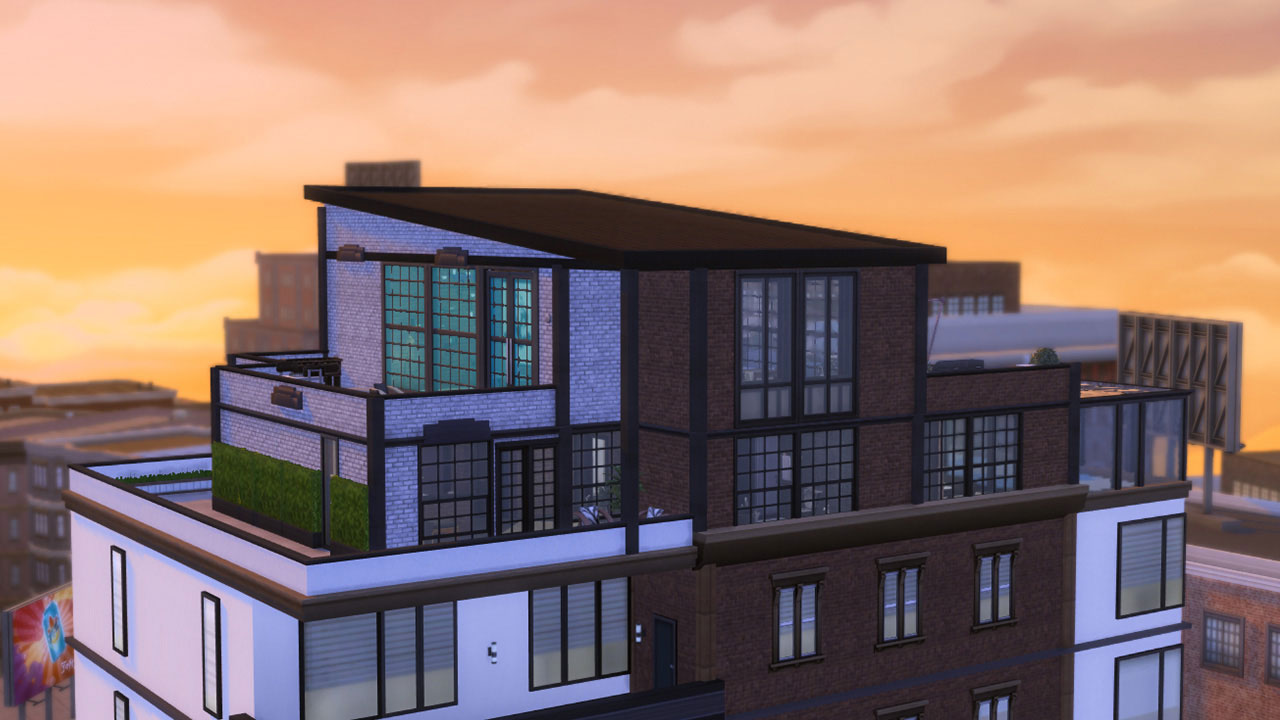 The sims 4 industrial style sunset penthouse