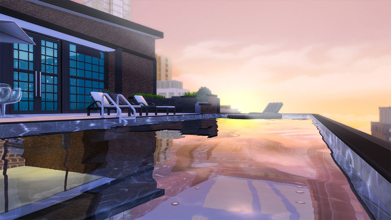 The sims 4 Fountainview Penthouse penthouse. infinite pool view