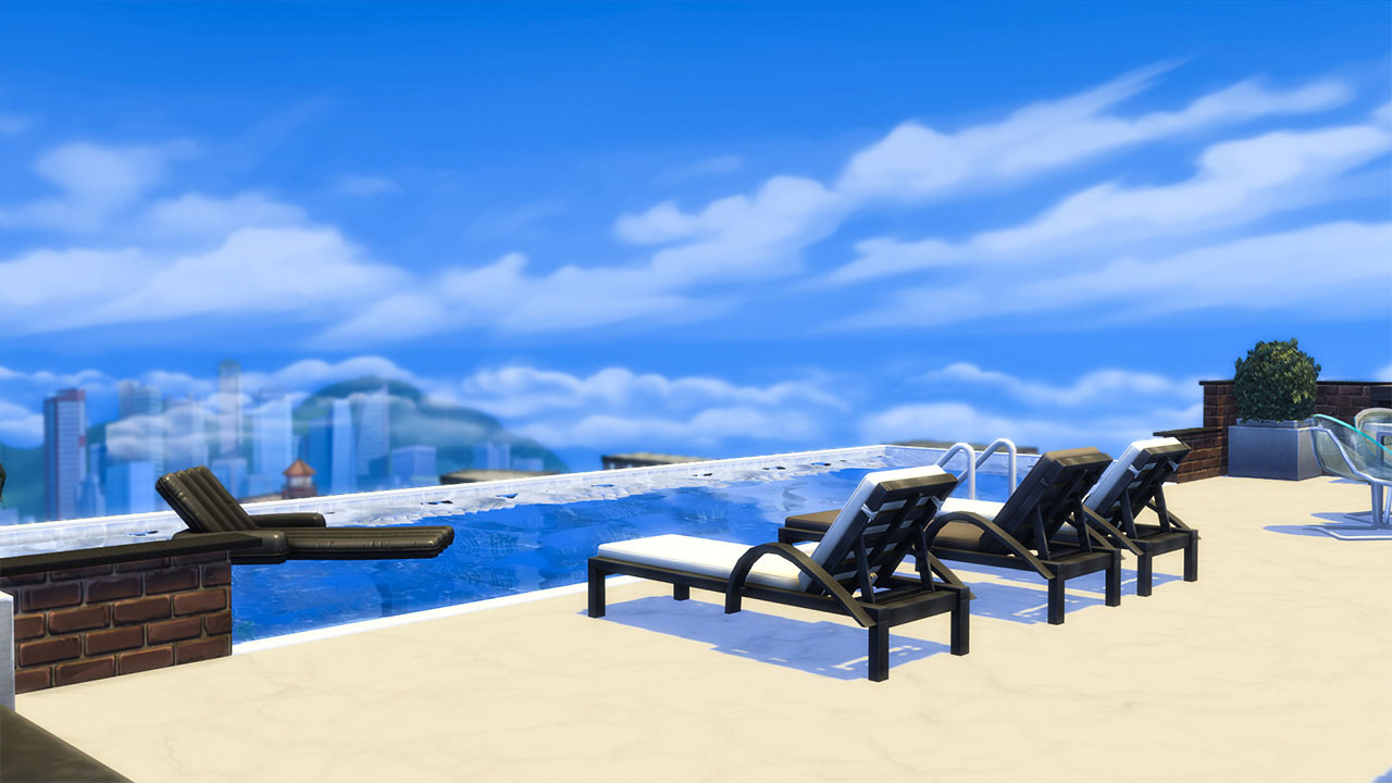 The sims 4 penthouse infinite pool view
