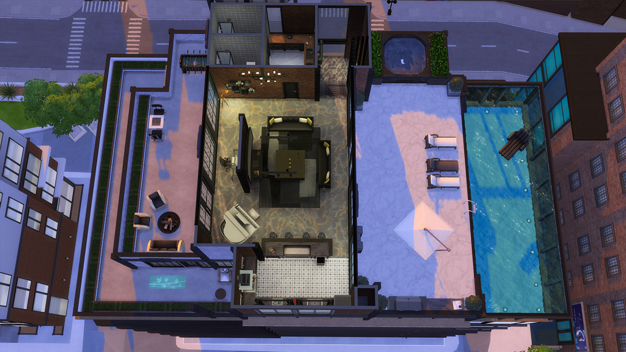 The sims 4 penthouse 2nd floor plan