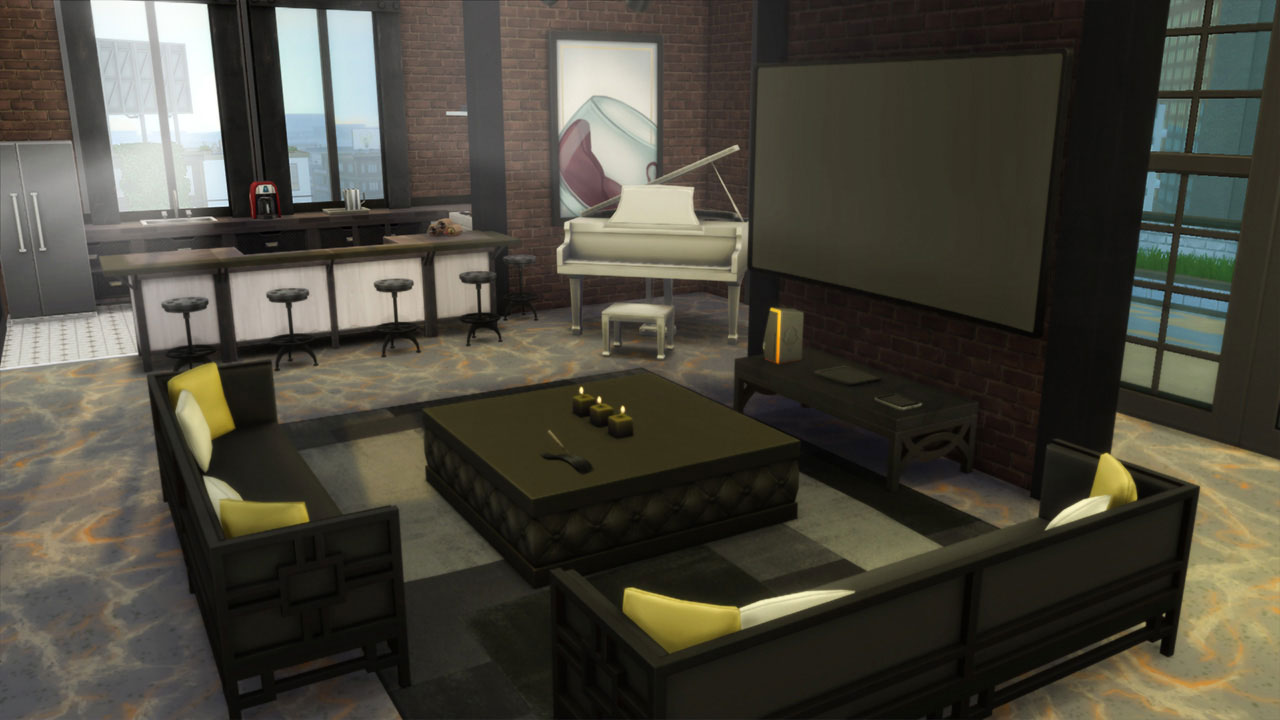 The sims 4 penthouse kitchen and living room