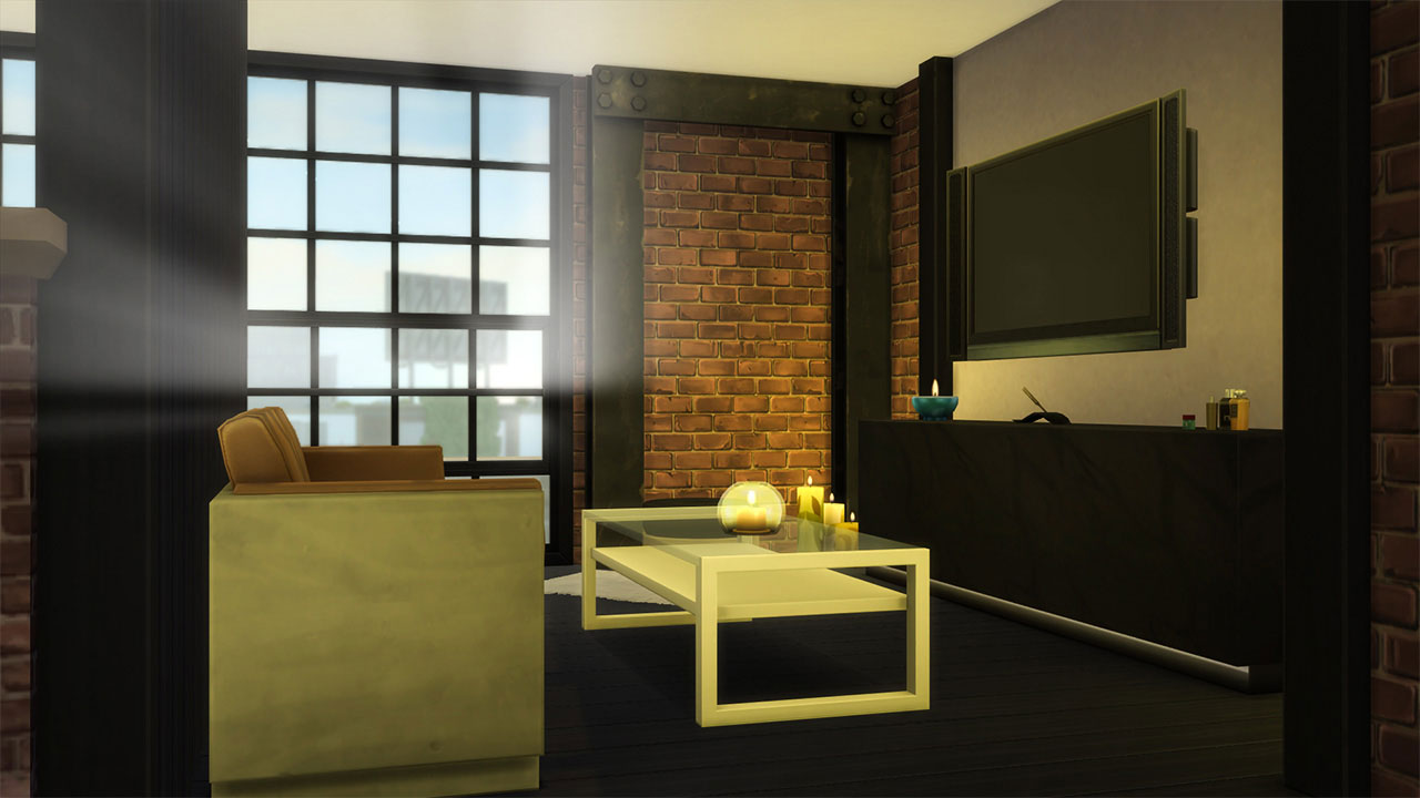 The sims 4 industrial style sunset penthouse bedroom