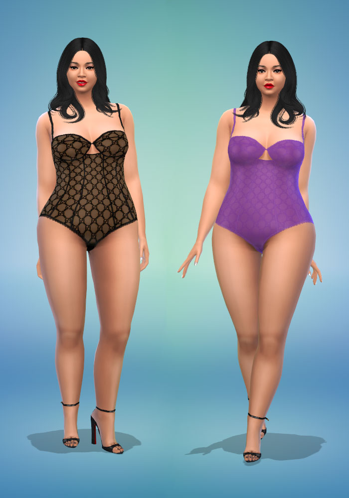 The Sims 4 CC Gucci Tulle Lingerie