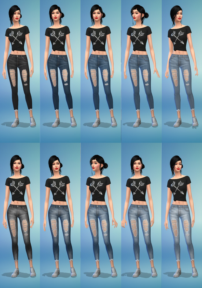 The Sims 4 CC Skinny Jeans Colors