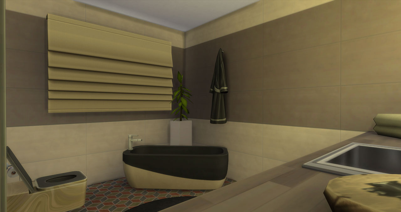 The sims 4 small modern brick house bathroom