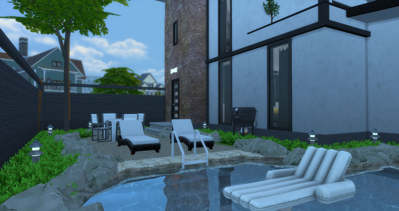 The sims 4 small modern brick house pool