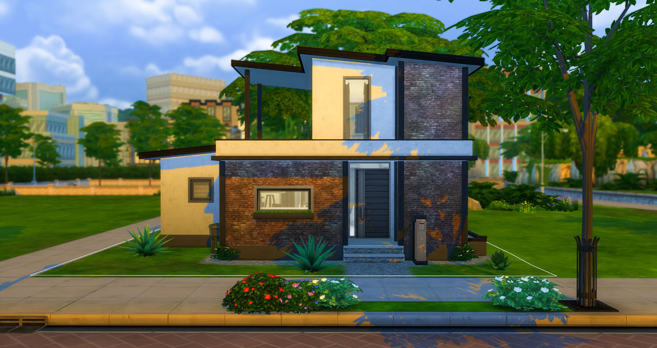The sims 4 small modern brick house