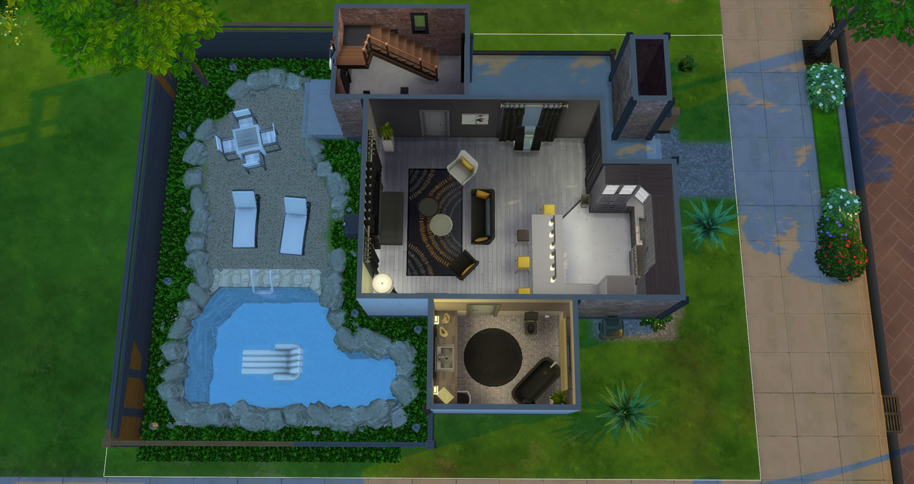 The sims 4 small modern brick house 1st floor