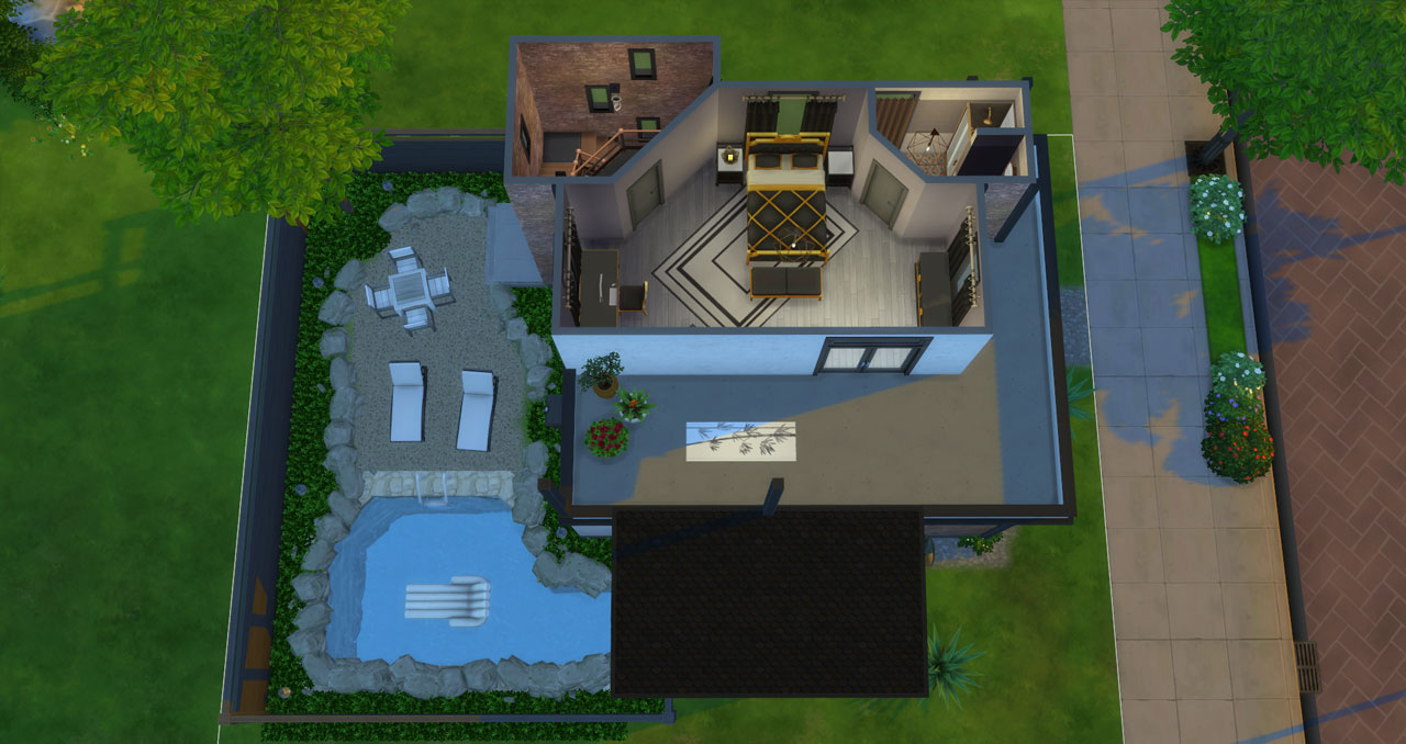 The sims 4 small modern brick house 2nd floor