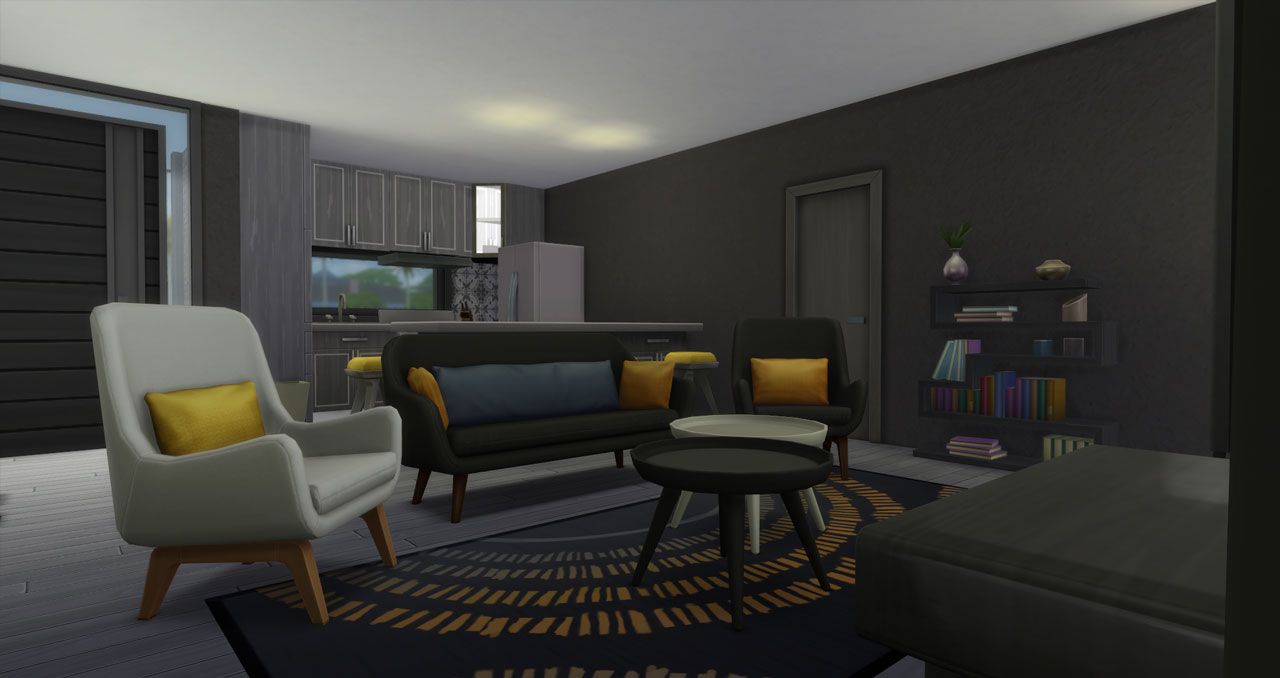 The sims 4 small modern brick house living room